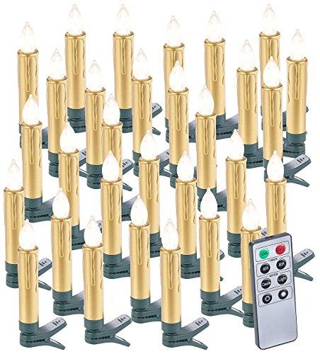 Lunartec LED Baumkerzen: 30er-Set LED-Weihnachtsbaumkerzen mit Fernbedienung und Timer, Gold (Weihnachtsbaumkerzen Batterie)