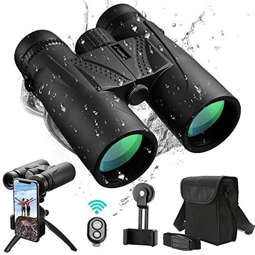UNEGROUP Binoculars for Adults, 10x42 HD Low Light Night Vision Compact Binocular, Waterproof Lightweight Binocular Prism FMC BAK4 for Outdoor Birdwatching Sports Games with Smartphone Adapter Tripod