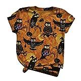 Camiseta de manga corta para mujer, diseño de gato, búho, cuello redondo, estilo vintage, tallas S-3XL, Muster-05, M