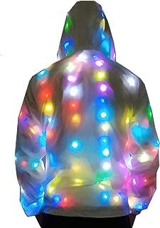 Mens Womens LED Flash Light Up Rave Baseball Hoodies Jacket Sport Outwear Party Costume Fancy Dress Plus Size LED0010