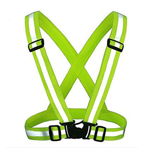 KING DO WAY Adjustable Reflective Running Gear Safety Vest Waist Belt Stripes Jacket High Visibility for Outdoor Jogging Cycling Walking Motorcycle Riding and Running Green