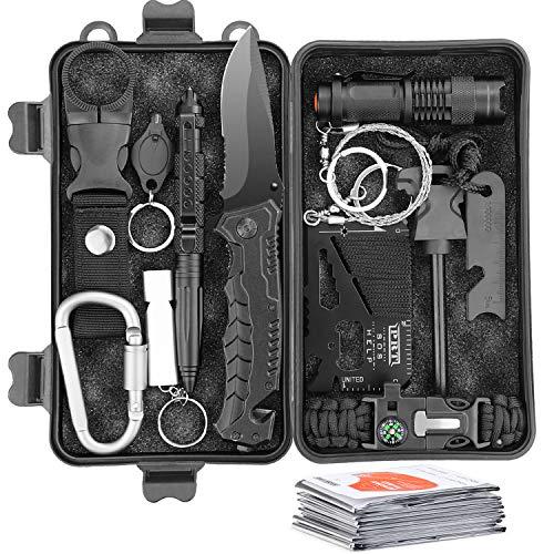 Survival Kit 13 IN 1 Multifunktional Notfall-Überlebenskits mit Kompass Paracord Armband Rettungsdecke Taschenlampe und weiterem Zubehör für Camping Wandern Jagden Bushcraft Outdoor Abenteuer (A1)
