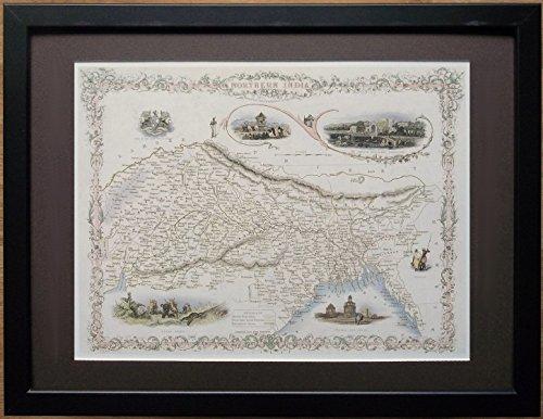 "), diseño de mapamundi antiguo–12""X 16"" marco, la India del norte mapa"