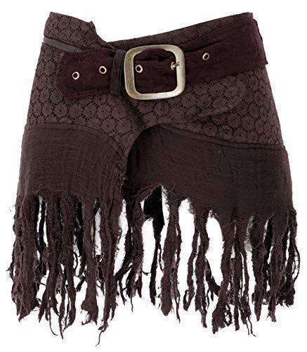 Guru-Shop Goa Minirock, Wickelrock, Cacheur, Damen, Braun, Baumwolle, Size:40, Röcke/Kurz Alternative Bekleidung