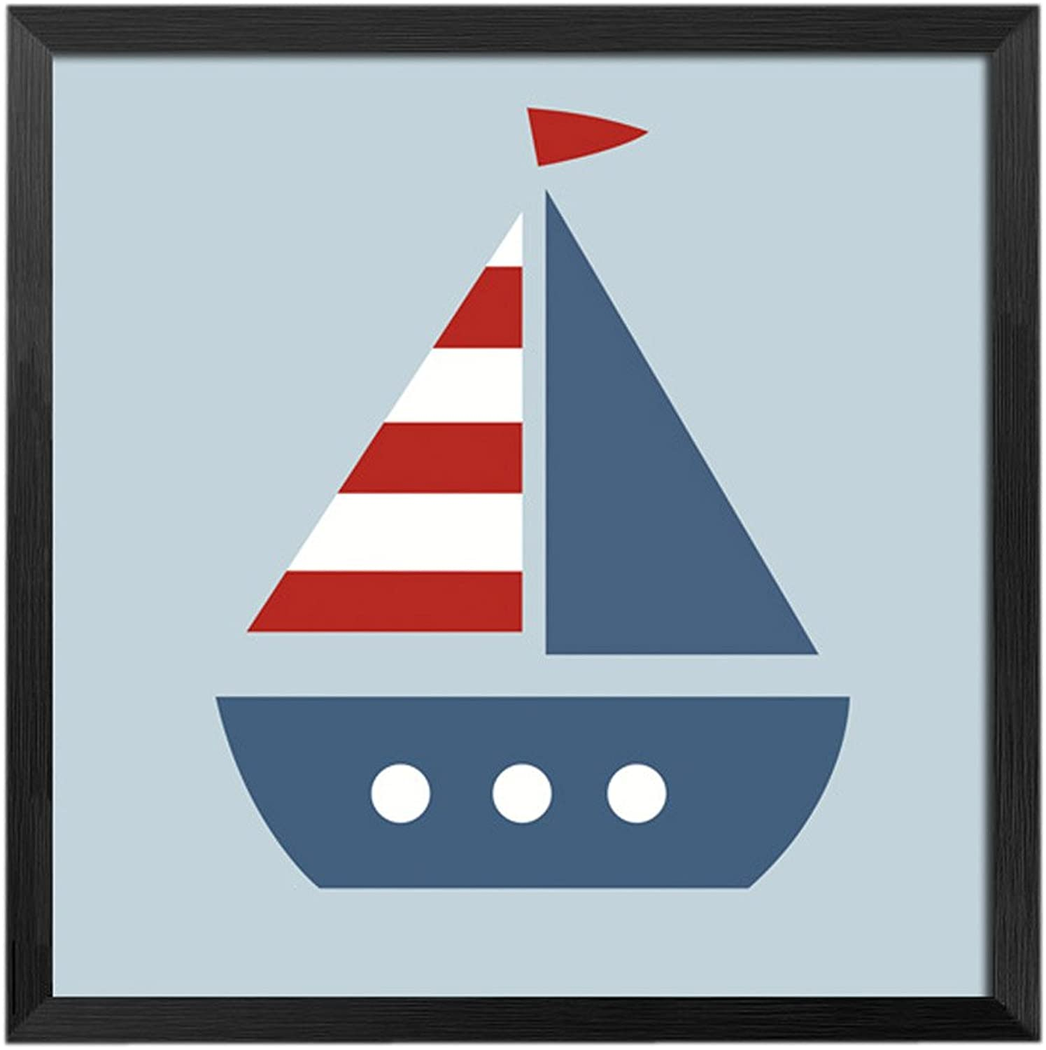 [Boat]Decorative Painting Framed Painting Wall Decor Kids' Room Hanging Picture