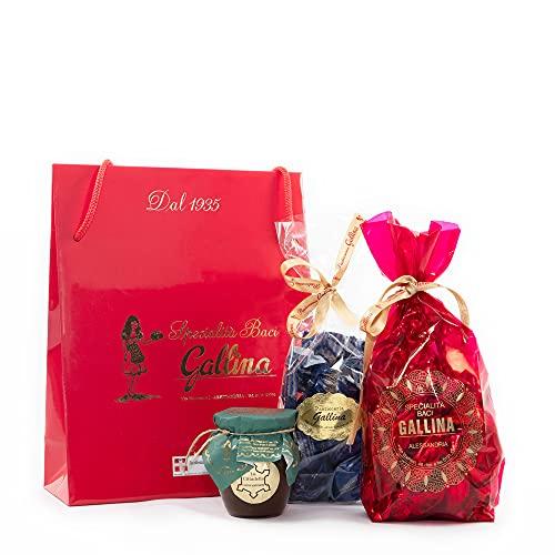 SHOPPER DELLE GOLOSITA' - confezione regalo gourmet - eccellenza Pasticceria Gallina - Baci di dama al cioccolato - amaretti - crema spalmabile alla nocciola