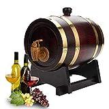 Eichenfass 3 l, Wein, Spirituose, Whiskey, mit Zapfhahn, Holzständer, Vintage, Eichenholz, Weinfass für Bier, Whiskey, Rum Port