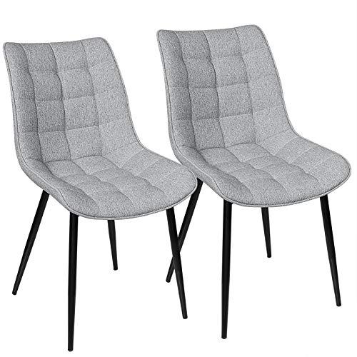 WOLTU® Esszimmerstühle BH206hgr-2 2er Set Küchenstuhl Polsterstuhl Wohnzimmerstuhl Sessel mit Rückenlehne, Sitzfläche aus Leinen, Metallbeine, Hellgrau