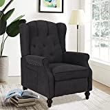Wingback Recliner Chair, Accent Chair with Massage & Heating, Tufted Upholstered Comfy Reading Chair Sofa, Mid-Century Modern Armchair for Living Room Bedroom, Wooden Leg/Linen Fabric (Dark Gray)