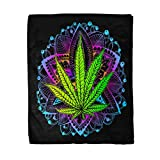 rouihot 60x80 Inches Throw Blanket Cannabis Leaf Marijuana Herb Weed Ganja Illicit Narcotic Illegal Warm Cozy Print Flannel Home Decor Comfortable Blanket for Couch Sofa Bed