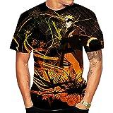 Camisetas,Camiseta Transpirable Informal Ninja con Estampado De Anime para Hombre Ropa De Verano De Manga Corta con Estampado 3D Color 2 Negro S