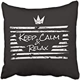 Zcfhike Customize Square Throw Cuscinocases 18X18 Black Cool in The Form of Message Keep Calm And Relax Graphics Slogan Always American Best Soft Cuscino Covers