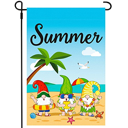 Summer Gnomes Beach Garden Flag Vertical Double Sided Seasonal Rustic Yard Flag for Outside Holiday Home Decoration, 18 x 12 Inches