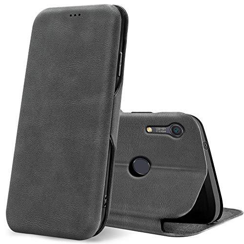 Conie Business Hülle für Huawei Y6s, Premium PU Leder Flip Schutzhülle klappbar für Huawei Y6s Tasche, Grau