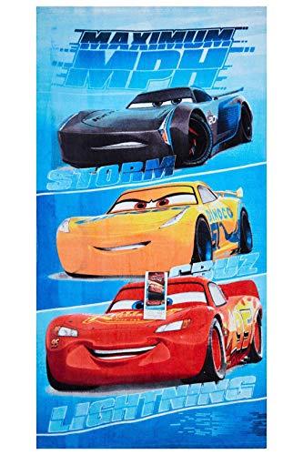 Cars Disney Maximum MPH Strandtuch, Badetuch, Handtuch 70 x 140 cm mit Storm, Cruz und Lightning McQueen aus 100{84c8900181f327ddf5ee7d92e1e3480e5a84ade35cd850c2747ea4eec58afa4e} Baumwolle, für Kinder