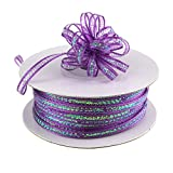Iridescent Pull String Bows Ribbon, 1/8-inch, 50-Yard (Purple)