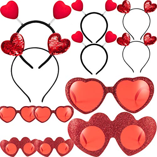 Skylety 12 Pieces Valentines Head Boppers and Red Heart Glasses for Girls Women, Heart Headbands for - http://coolthings.us