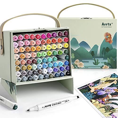Arrtx ALP 80 Farben Marker Stifte, Dual Tips Graffiti Stift alkoholbasierte Textmarker, für Illustration, Architektur, Design, Anime, Skizze, geeignet für Kinder, Studenten, Künstler