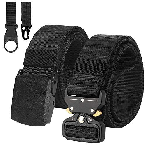 Justay 2 Pacchi Cintura Uomo Tattica Cinta Militare Tela Regolabile, 1 pack Fibbia in Metallo a Sgancio Rapido e 1 pack Fibbia Plastica(125 cm)