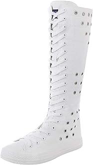 Jamron Chicas Mujer Moda Rodilla Alta con Cordones Botas de
