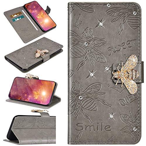 Urhause Kompatibel mit Samsung Galaxy S10 Plus Hülle Diamant Geprägt Funkeln Glänzend Hülle Leder PU Handyhülle Magnetverschluss Standfunktion Handytasche Brieftasche Tasche Kartenfach Etui Case Grau