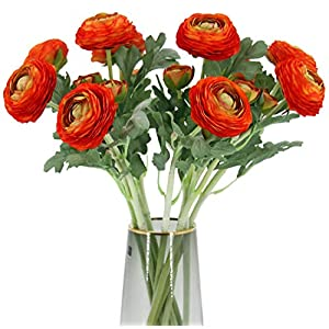 Artificial Ranunculus Flowers with Real Touch Stem, Silk Ranunculus Flowers(10 Pack) (Orange)