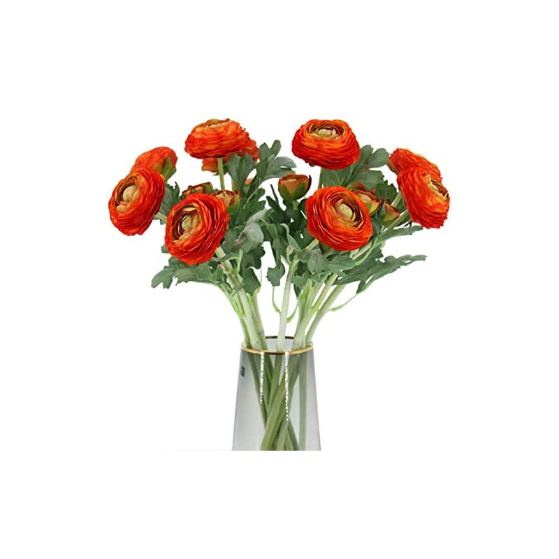 silk flower arrangements artificial ranunculus flowers with real touch stem, silk ranunculus flowers(10 pack)