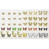 EBANKU 50 Stück Schmetterling Nail Art Strasssteine und Edelsteine groß 3D Nagel Juwelen Charms Kristalle Nieten Metall Gold Silber Bunt für Nail Art Dekorationen DIY Design