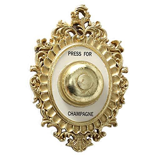 CasaJame Wandornament Champagner Schild Wandklingel Hotel Concierge Glocke Press for Champagne H23cm Gold