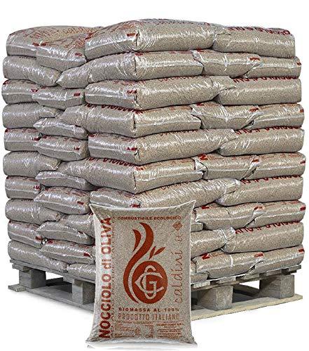 Nocciolo di oliva CALDOLIVA ad alto potere calorico - Pallet da 66 sacchi da 15 KG - Combustibile ecologico Biomassa al 100% Eco Green Fuel Prodotto Italiano