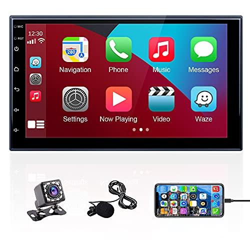Hikity 2 DIN Carplay Radio de Coche Bluetooth Autoradio 7 Pulgada Pantalla Táctil Estéreo del Coche con Enlace Espejo FM USB SD AUX-In + Micrófono Externo + Cámara Visión Trasera