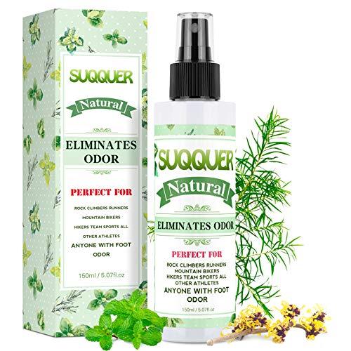 Natural Shoe Deodorizer Spray, SUQQUER 150ML Extra Strength Foot Odor Eliminator for Shoes-Witch Hazel, Peppermint, Tea Tree Essential Oils 150ML /5.07FL.OZ