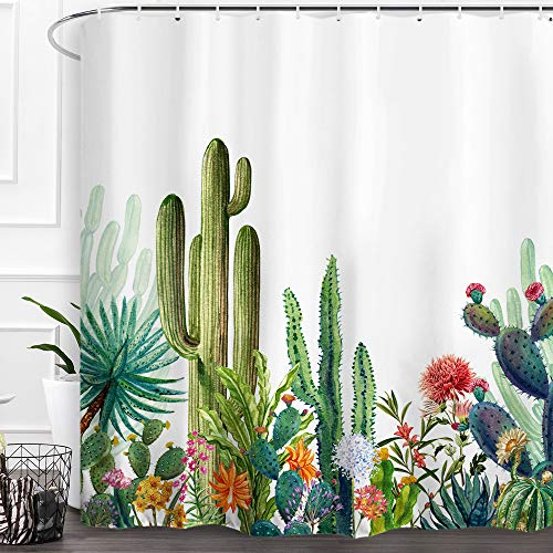 Cactus Shower Curtain Green Tropical