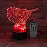 Yyhmkb3D Luz de noche lindo pájaro gorrión, lámpara de ilusión óptica LED, base E - reloj despertador (7 colores), manualidades, lámpara de noche artística, lámpara moderna, luz de moda,