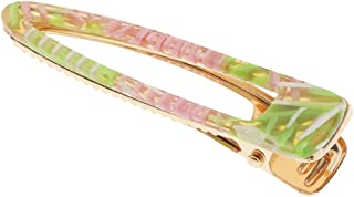 Perfeclan Bows Hair Clips Barrette Geometric Korea Hairpin Hair Styling Accessories - Green Pink Duckbill, as described