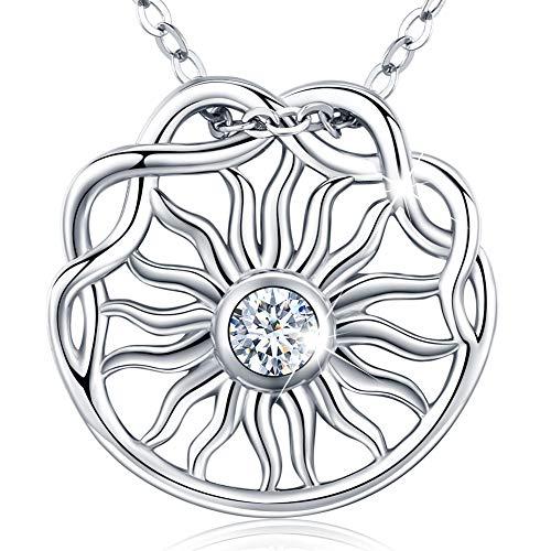 Friggem El sol brillante con decoración de nudo celta collar y colgante de plata esterlina con circonita plateada para mujeres y hombres, regalo del día de la madre