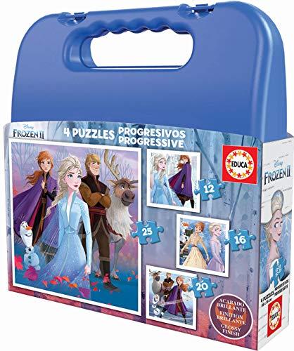 Educa- Frozen 2 Maleta Progresivos, Puzzle Infantil de 12,16,20 y 25 Piezas, a Partir de 3 años (18114)