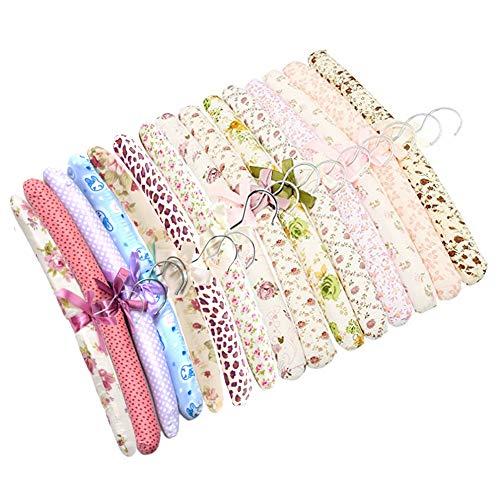 SwirlColor Perchas Acolchadas de Algodón Floral Vestido Suave Percha-Entrega al Azar 5 Piezas