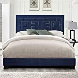 Modern Ishiko III Eastern King Bed in Dark Blue Velvet Panel Eastern King Bed FrameWood with Rectangular Headboard, Wood Construction, Eastern King Size Bed Frame Bedroom Furniture