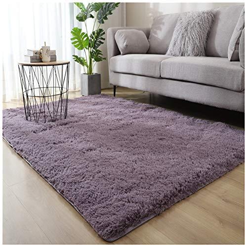 Miękki ciepły gruby kudłaty puszysty salon obszar dywan plusz gruby runo nowoczesne sypialnia salon dywaniki dom podłoga dywan mata, szary fioletowy, 50 x 200 cm