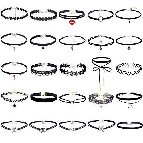 MingJun 25 PCS Womens Choker Halskette Set Schwarz Samt Spitze Tattoo Choker Set Vintage Stretch Halskette für Frauen Mädchen