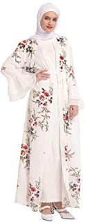 Women Elegant Print Maxi Dress, Muslim Summer Hot Rrilling Lace Fashion Black Lace Embroidered Loose Robes