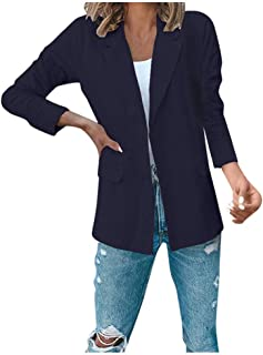 Aniywn Women's Solid Color Full Sleeve Suit Jacket Coat Ladies Casual Autumn Lapel Lightweight Work Office Blazer S-XXXL