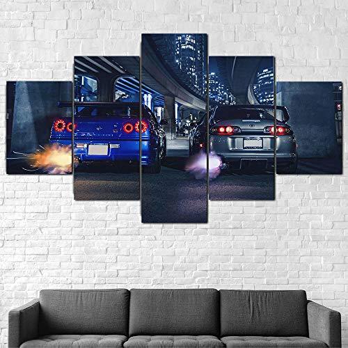 Decoración De Arte De Pared 5 Piezas Imprime En Lienzo Coche Deportivo GTR R34 Vs Supra HD Cuadro Estilo Abstractos Moderna Inicio Decoración Lienzos 150×80 Cm,Listo para Colgar(con Marco)
