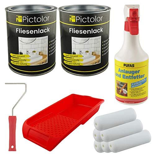 2x Pictolor Fliesenlack 0,75 Liter weiß + 1x Anlauger und Entfetter Spray 0,5 Liter + Farbroller + Farbwanne + 6x Walze