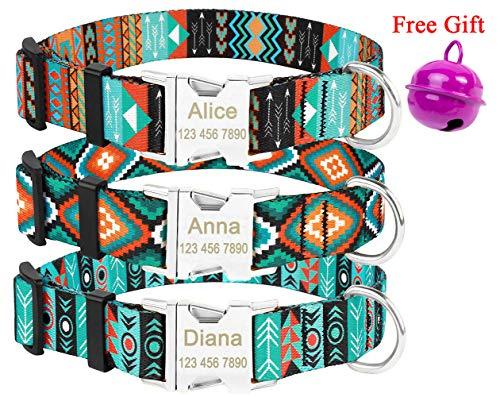 Mihqy Personalisiertes Hundehalsband - mit Hundename und Telefonnummer - Anpassbares Nylon-Hundehalsband - Strapazierfähiger Stoff mit Mode-Muster und Metallschnallen