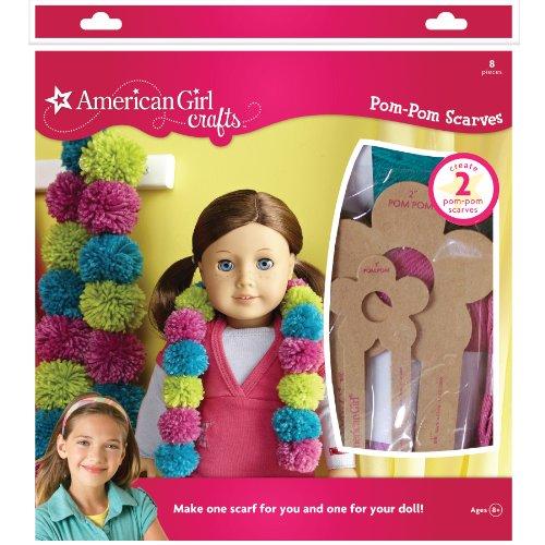 American Girl Doll Crafts Matching Pom-Pom DIY Scarf Kit, 8pc.