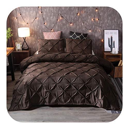 Crib Bedding Set Boy, Black Duvet Cover Pinch Pleat Brief Bedding Set Queen King Size 3pcs Bed Linen Set Comforter Cover Set With Pillowcase45-Brown-US Twin 167x230cm