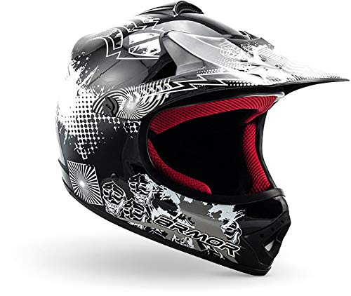 "armor HELMETS® AKC-49 ""Black"" · Kinder Cross-Helm · Motorrad-Helm MX Cross-Helm MTB BMX Cross-Bike Downhill Off-Road Enduro-Helm Moto-Cross Sport · DOT Schnellverschluss Tasche XS (51-52cm)"