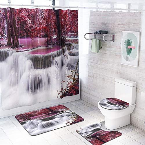 Enhome 4-teiliges Badvorleger-Set Duschmatte + Kontur Matte + WC-Deckelbezug + Duschvorhang, rutschfeste Badvorleger für Küche, Dusche und Toilette - Naturlandschaftsdruck (Wasserfall)